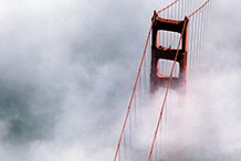 Golden Gate Bridge as the morning fog burns off.