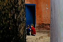Boys in alley.  Tangier, Morocco.  1977